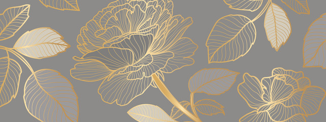 luxury Wallpaper design with golden rose flower and leaves. Background design for print, cover, invitation, greeting cards, brochure vector illustration. - 372438258