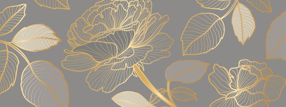 luxury Wallpaper design with golden rose flower and leaves. Background design for print, cover, invitation, greeting cards, brochure vector illustration.
