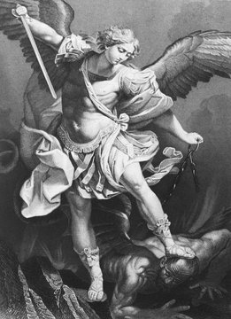 Archangel Michael, painting by Guido Reni in the old book in the old book Rembrandt by Knuckfus, S. Peterburg, 1890 by A. Andreieva, St. Petersburg, 1878