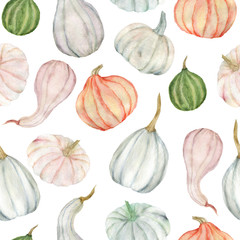 Watercolor painting seamless pattern with vegetables pumpkins