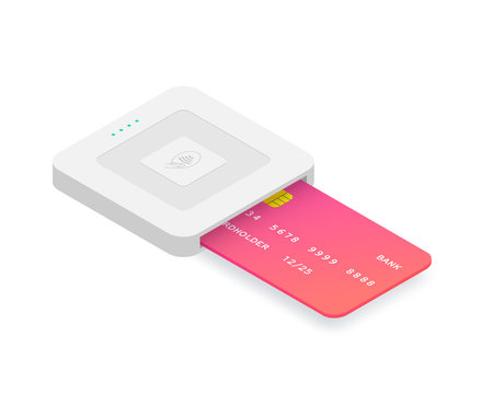 Isometric EMV chip credit card square reader. Secure cashless payment vector illustration. Wireless NFC EMV technology. Square contactless and chip reader with plastic debit card isolated on white