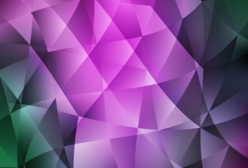 Light Pink, Green vector gradient triangles texture.