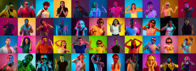 Printed roller blinds Akt Collage of portraits of 30 young emotional people on multicolored background in neon. Concept of human emotions, facial expression, sales, ad. Listening to music, dancing, shocked, laughting.