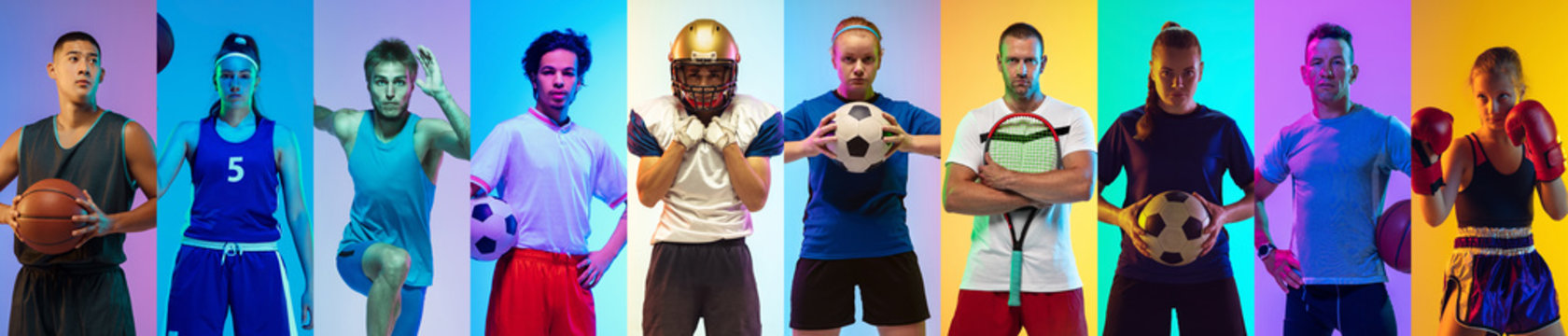 Sport collage of professional athletes or players, sportsmen on multicolored background in neon. Made of different photos of 9 models. Concept of motion, action, power, active lifestyle, competition.