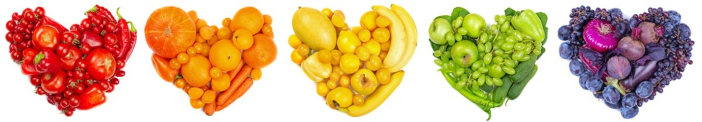 Fruit and vegetable heart on white