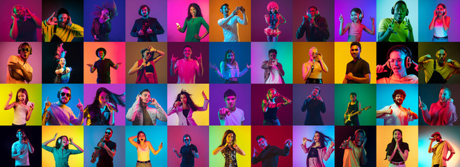Collage of portraits of 33 young emotional people on multicolored background in neon. Concept of...