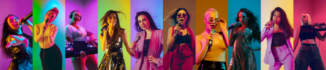 Collage of portraits of 9 young emotional talented musicians on multicolored background in neon light. Concept of human emotions, facial expression, sales. Inspied female singers and DJs performing.