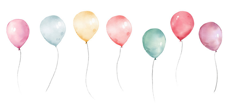 watercolor balloons colorful