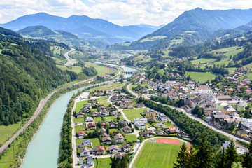 Wall Murals Nature aerial view of the city Werfen