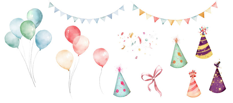watercolor balloons colorful for party