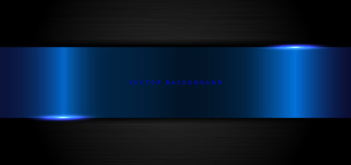 Abstract banner elegant template geometric blue metalic on black metal background and texture.