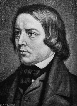 Robert Schumann, was a German composer, pianist, and influential music critic in the old book Biographies of famous composers by A. Ilinskiy, Moscow, 1904