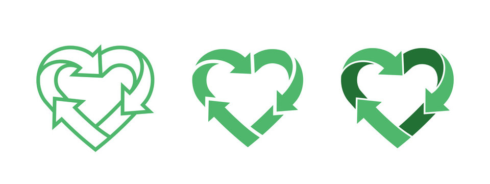 Green heart shape symbol with arrows. Recycle logo
