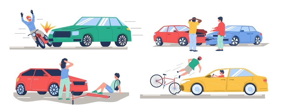 Road traffic accident set, vector flat isolated illustration. Car collision with bike, motorbike, pedestrian, another car. Auto accident, motor vehicle crash, injured cyclist, motorcyclist characters.