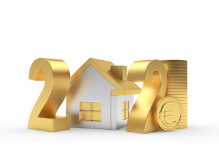 Golden number 2021 with house icon and coin with euro sign isolated on white. 3d illustration