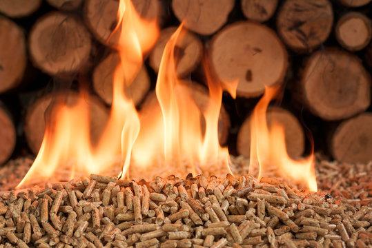 Wooden biomass in flames. Pellets made of fir wood