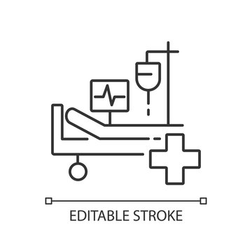 Intensive care linear icon. Critical care medicine. ICU. Hospital ward. Intensive treatment. Thin line customizable illustration. Contour symbol. Vector isolated outline drawing. Editable stroke