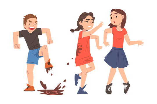 Bully Boy Jumping into Puddle and Dirtying Girls with Mud, Mockery and Bullying at School Concept Cartoon Style Vector Illustration
