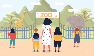 Vector illustration of children at zoo. Group of young people with teacher standing near entrance to zoo and looking on wild animals Wall mural