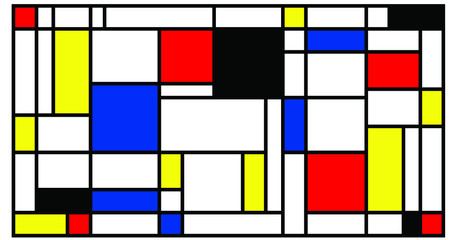 Checkered Piet Mondrian style emulation. The Netherlands art history and Holland painter. Dutch mosaic or checker line pattern banner or card. Geometric seamless elements Retro pop art pattern