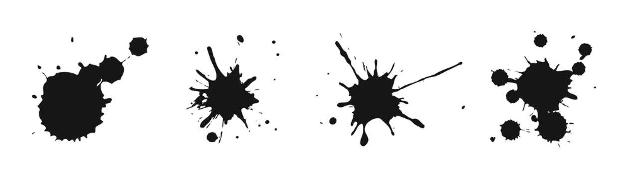 Grunge ink splash and splatter illustration. Vector isolated brush spatter.