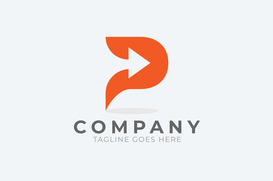 Initial  P Logo. letter p with with arrow inside, Usable for Business and logistic Logos, Flat Vector Logo Design Template, vector illustration