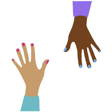 Multi-racial women's hands with bright manicure reach up, isolate. The vote is in favor. Illustration. anti-racist