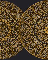 golden mandalas halves circle on dark background, vintage luxury mandalas, ornamental decoration vector illustration design
