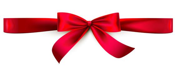 Red satin ribbon bow. Horizontal wrap
