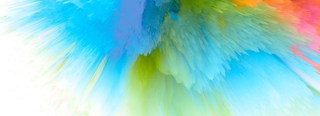 Digital Illustration. Black and white Color blot splash. Abstract long horizontal background..