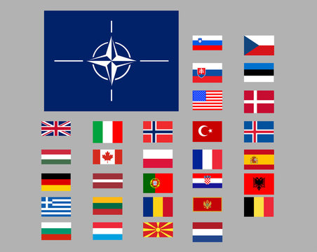 Set of flags of the countries of nato. Isolated objects