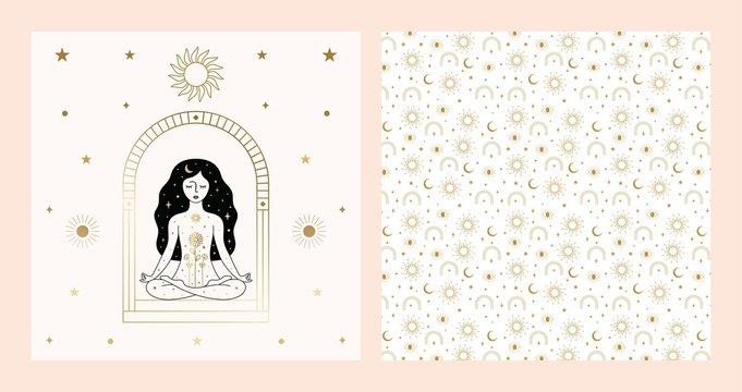 Woman Meditating Card Design in Vector.