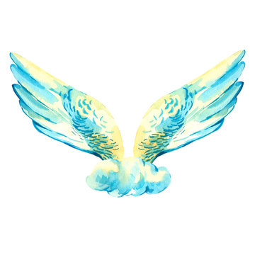 Vintage watercolor angel wings isolated on white background