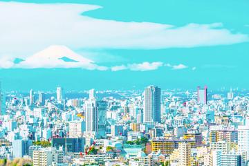 Photo sur Plexiglas Turquoise 富士山の見える東京の都市風景