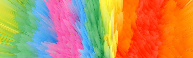 Digital Illustration. Color blot splash. Abstract long horizontal background..
