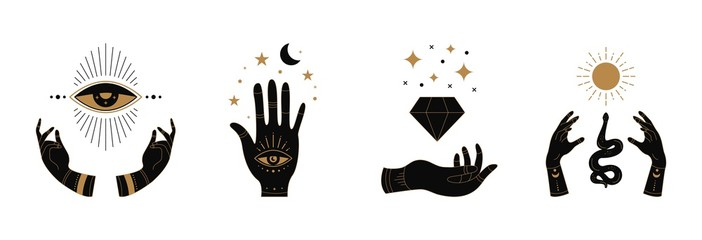 Fototapeta Boho doodle mystic hands. Hand drawn esoteric icons, simple feminine logo set with moon eye sun snake. Vector illustration obraz