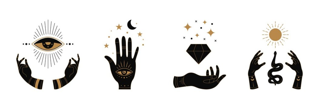 Boho doodle mystic hands. Hand drawn esoteric icons, simple feminine logo set with moon eye sun snake. Vector illustration