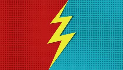 Comic versus superhero background. Vector cartoon VS halftone bolt template. Vector illustration pop art style