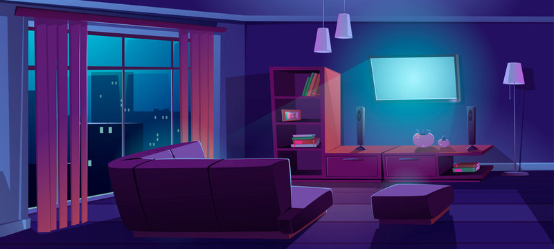 Living room interior with tv and sofa back view at night. Dark apartment with corner couch front of working television on wall, empty home design with furniture and decor, Cartoon vector illustration