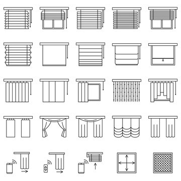 Window curtains, blinds and jalouise line icons set. Collection of different types of roller shutters, window sunblinds, mosquito net and remote control in outline style