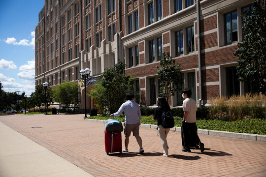 Students move back into the dorm for fall semester at the University of Michigan campus, amid the coronavirus disease (COVID-19) outbreak