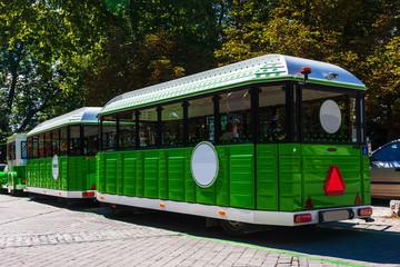 Foto op Aluminium Londen rode bus Tourist train at Ljubljanski Grad
