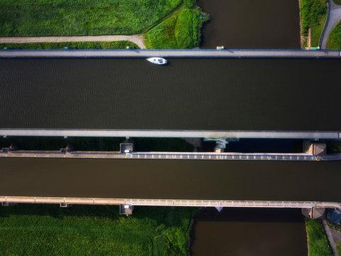Germany, North Rhine-Westphalia, Minden, Aerial view ofMindenAqueduct