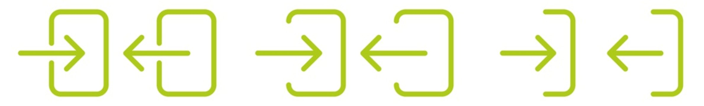 Login Logout Icon Green | User Log In Out Illustration | Account Access Symbol | Enter Exit Logo | Entrance Entry Sign | Isolated | Variations
