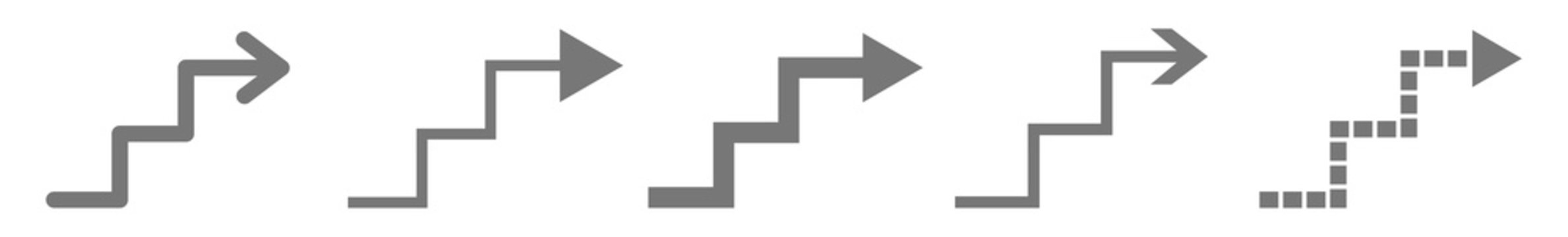 Upstairs Arrow Icon | Staircase Illustration | Stairway Symbol | Stairwell Logo | Steps Stairs Up Sign | Isolated | Variations