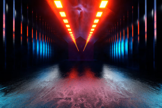 Three dimensional render of dark futuristic corridor inside spaceship or space station