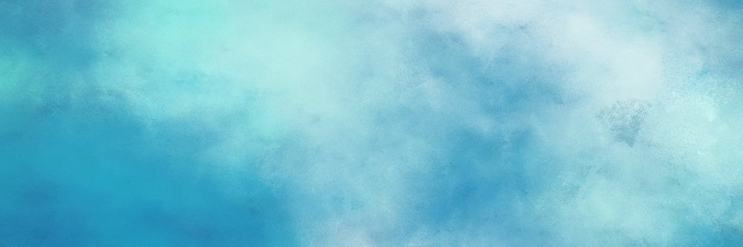 awesome vintage abstract painted background with sky blue, light sea green and pale turquoise colors and space for text or image. can be used as header or banner