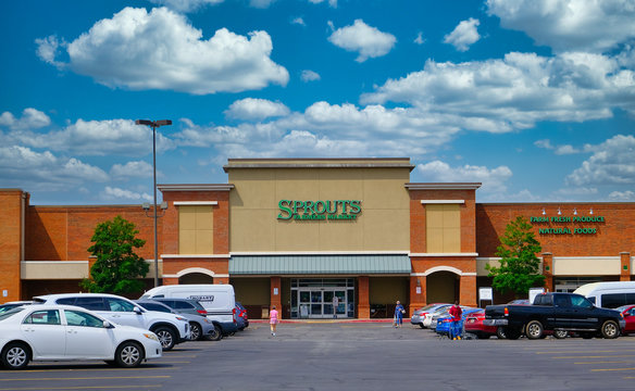 CUMMING, GEORGIA - Aug 7, 2020: Sprouts Farmers Market is an American supermarket chain headquartered in Phoenix, Arizona, They were created to respond to consumers' demand in health and wellness.