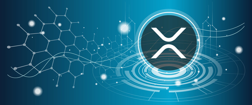 Ripple XRP coin symbol with crypto currency themed background design. Modern neon color banner for Ripple or XRP icon. Blockchain technology, digital banking & finance trade exchange concept.