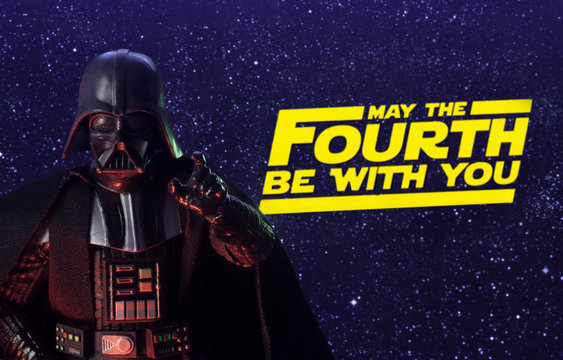 NEW YORK USA, APRIL 26 2020: Star Wars Day concept - May the Fourth Be With You with Darth Vader - Hasbro action figure